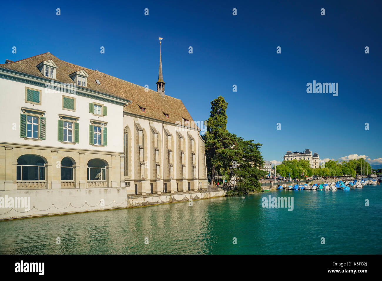 Afternoon cityscape with Limmat river of the historical Zurich city, Switzerland - Stock Image