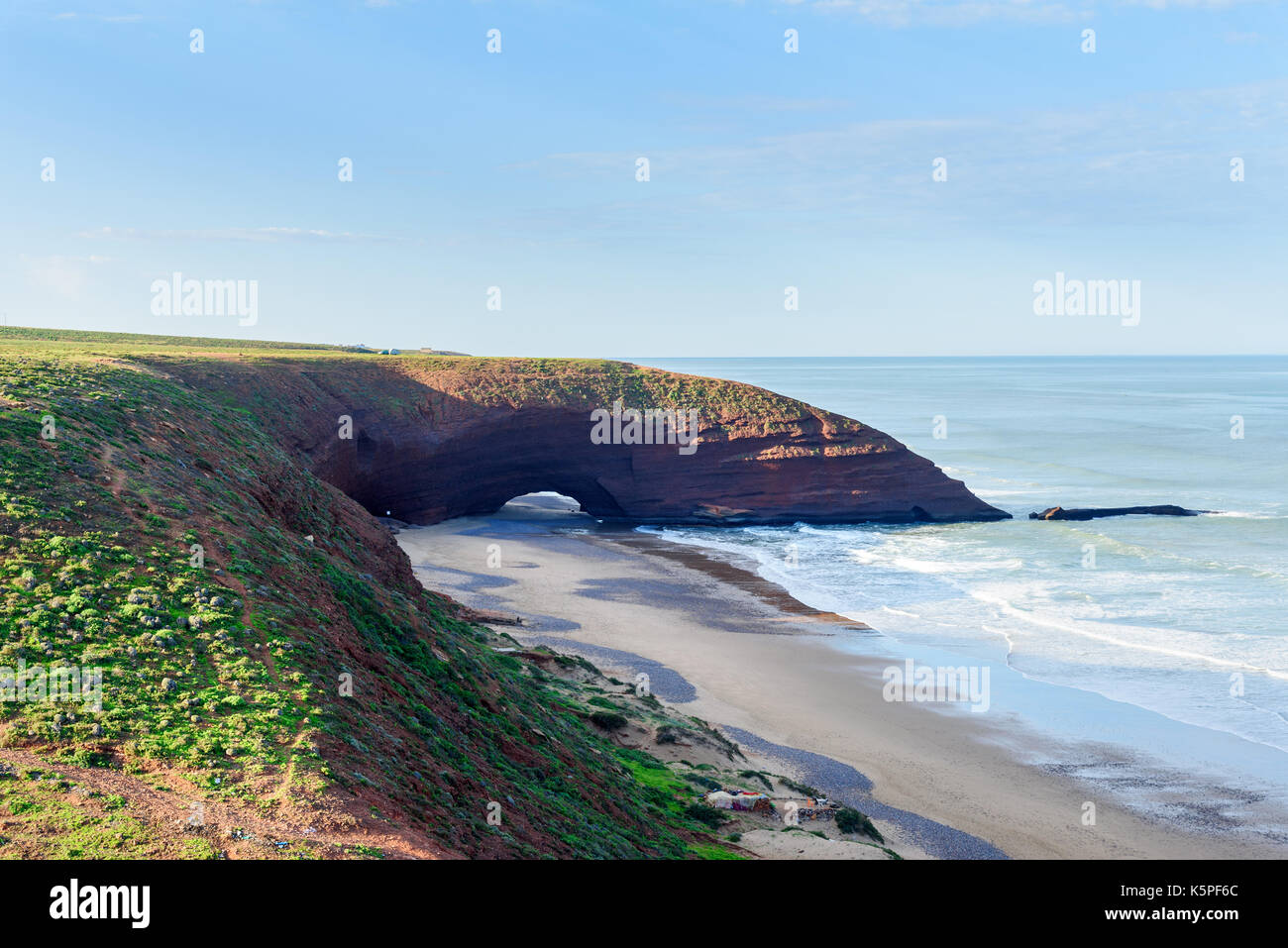 View ofLegzira beach with huge arch of rock . Morocco - Stock Image
