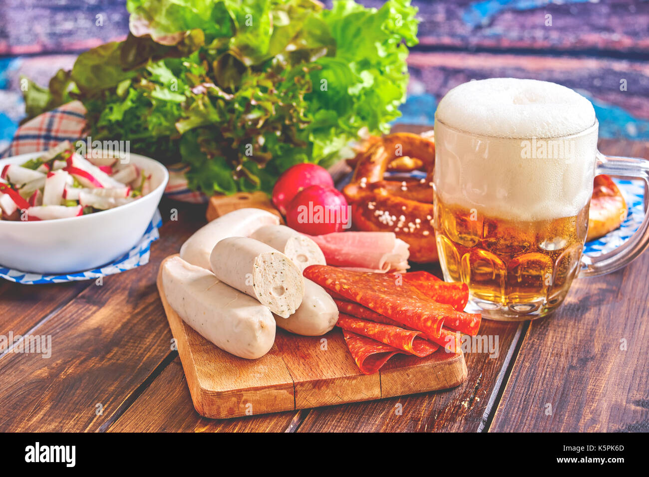 Oktoberfest food on wooden table Stock Photo