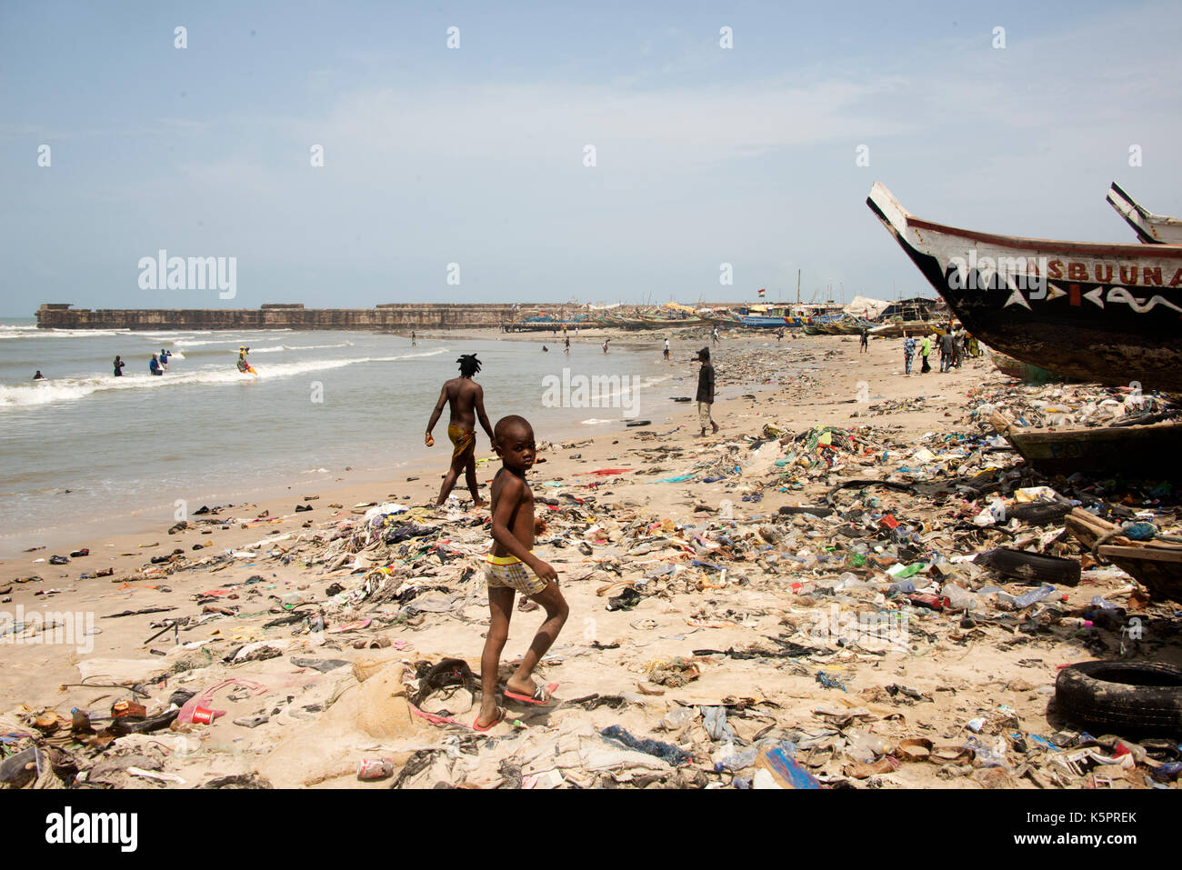 Beach in Jamestown, Accra, Ghana - Stock Image