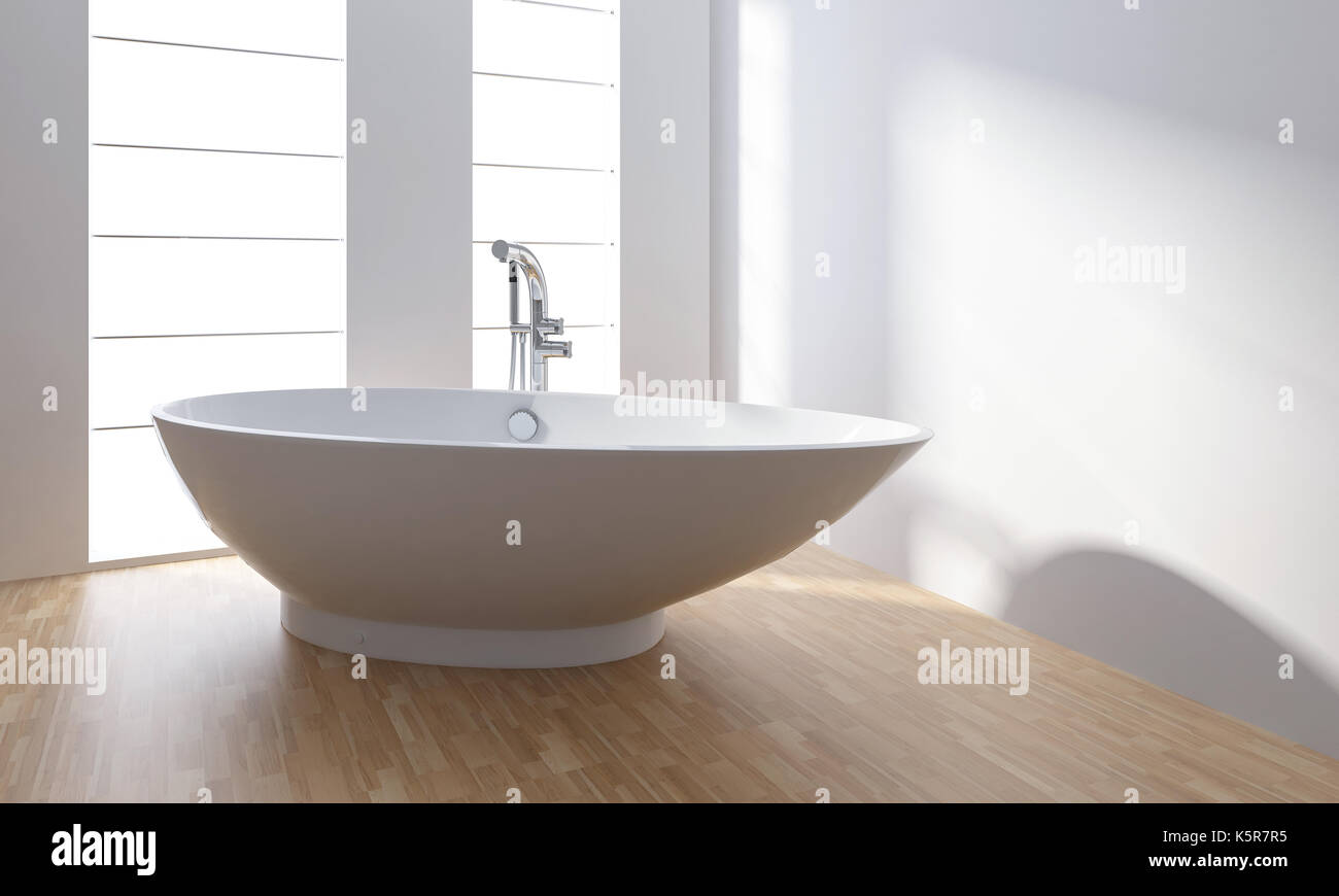 White porcelain bathtub in minimalist modern bathroom with wooden ...