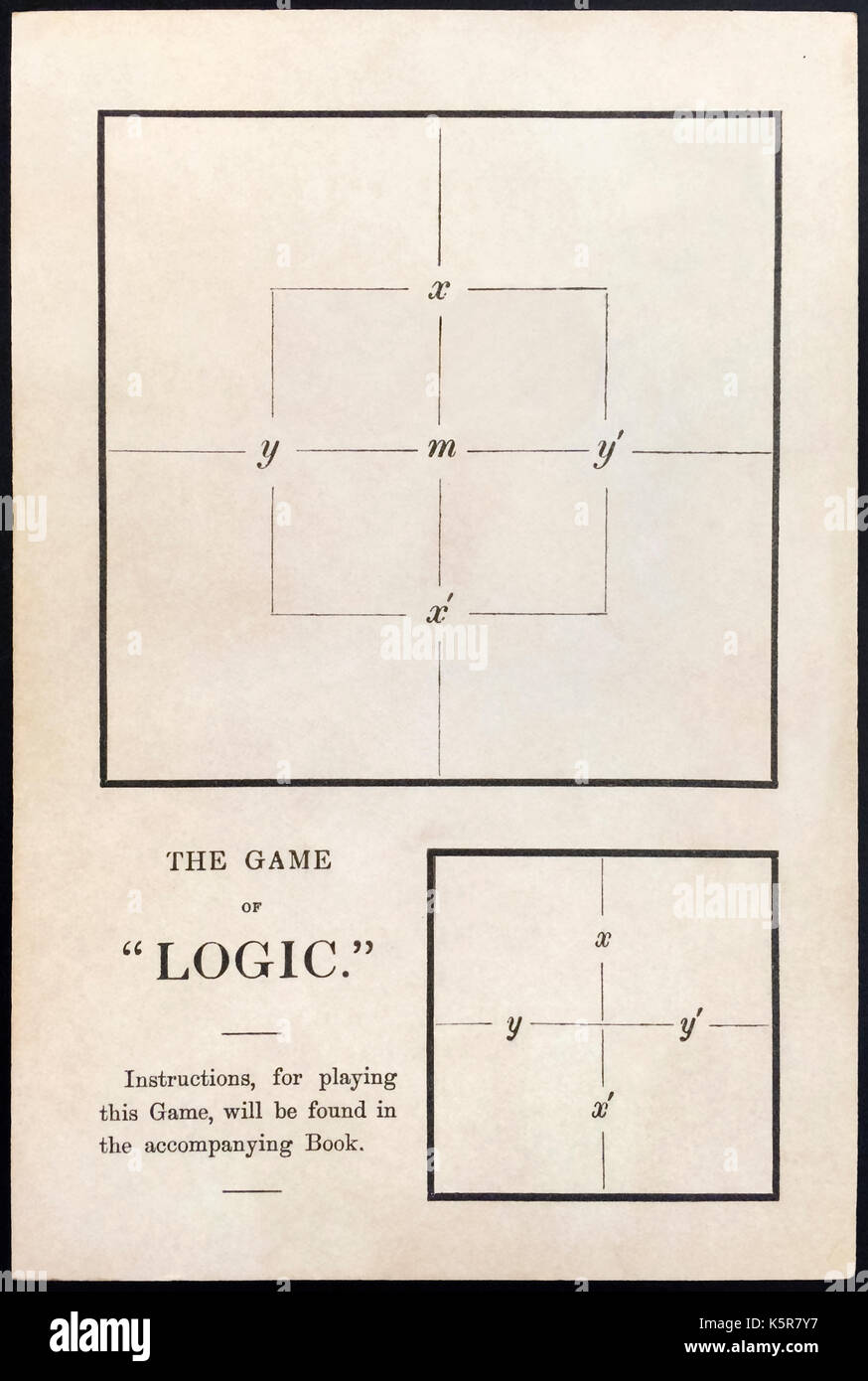 'The Game of Logic' (playing board) by Lewis Carroll (1832-1898) (Charles Lutwidge Dodgson), published in 1887. A game for at least one player. See description for more information. - Stock Image