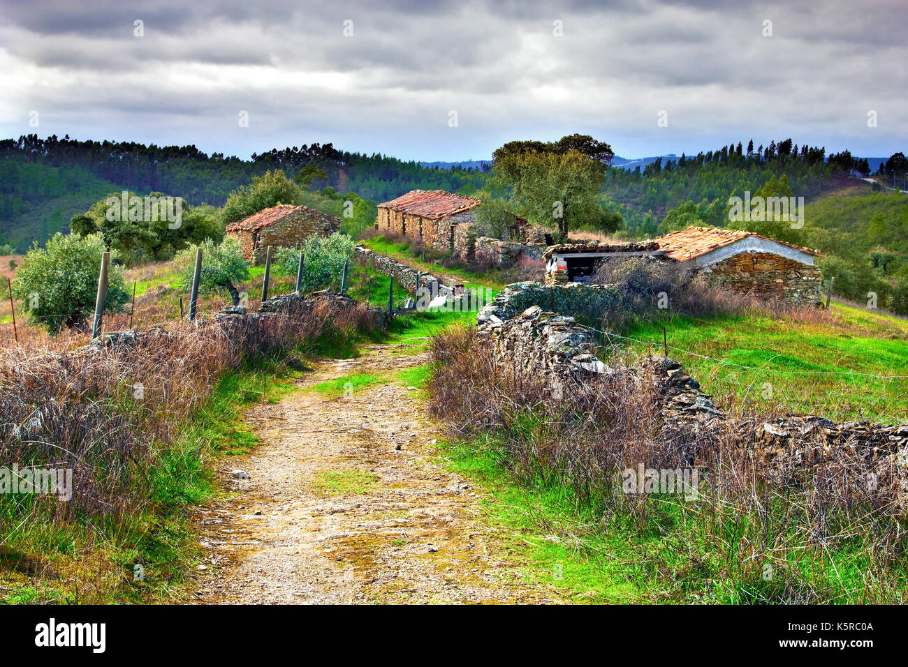 A view of the tranquil hamlet of Silveira in the Centro region of rural Portugal. - Stock Image