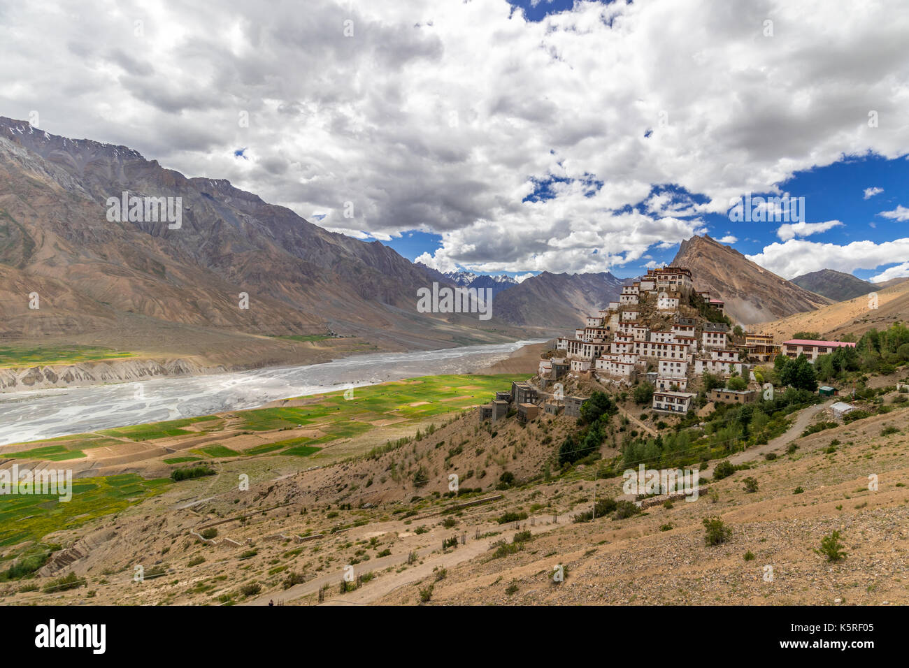 The Beautiful Monastery lying on the Mountain, above Spiti River, in the Vally - Stock Image