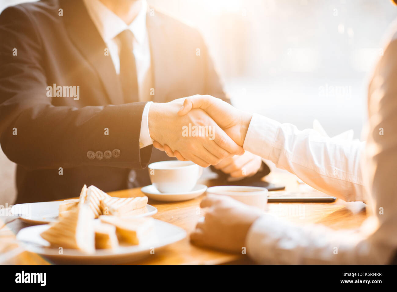 Firm Handshake of Business Partners Stock Photo