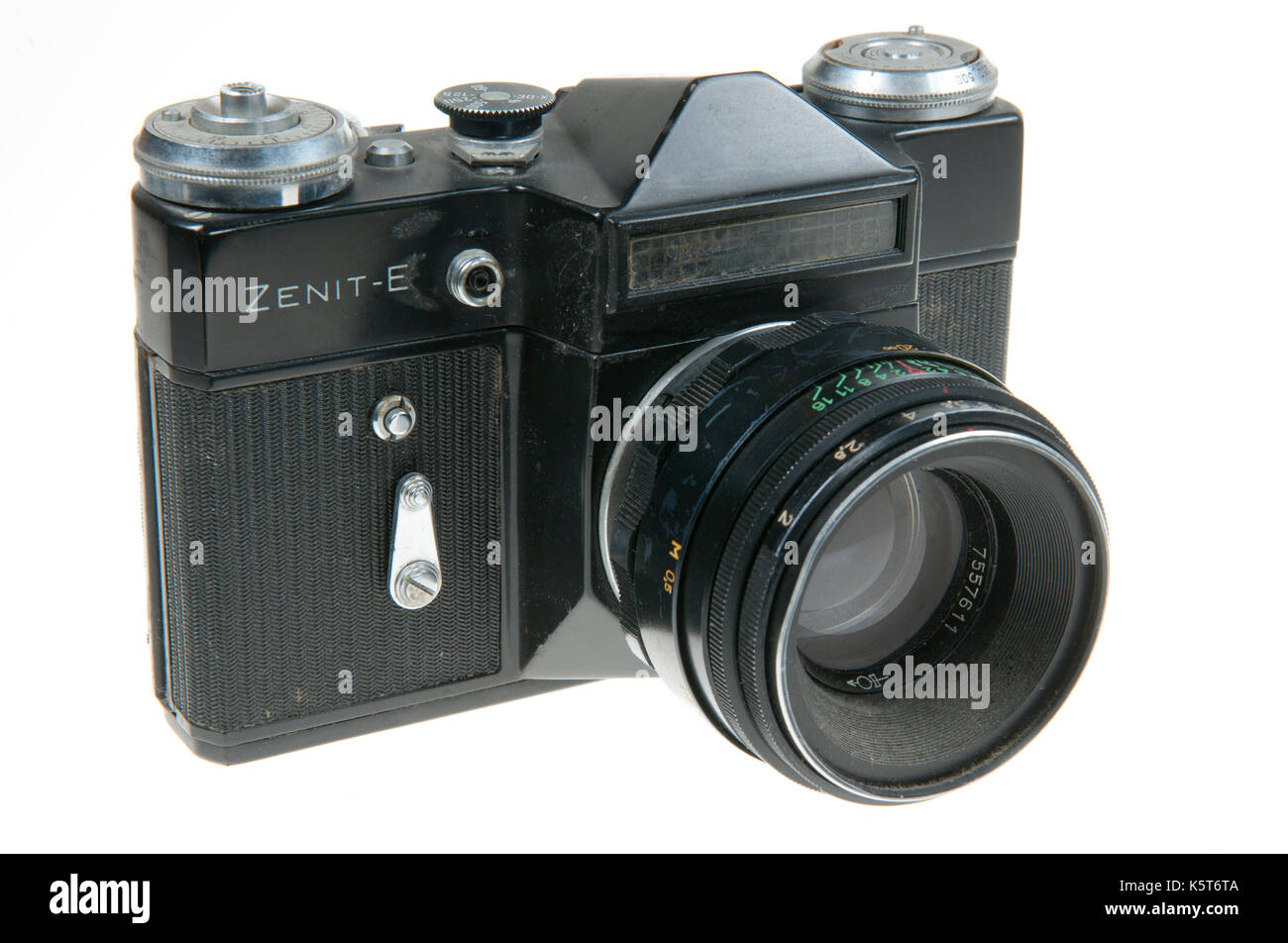 Krasnogorsk Zenit E 35mm SLR camera made bewtween 1965 and 1981 - Stock Image