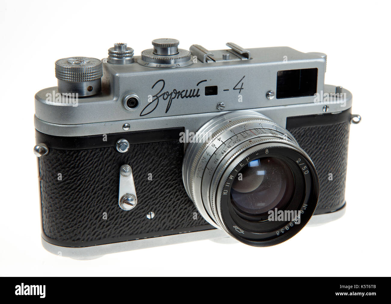 Krasnogorsk Zorki-4 35mm rangefinder camera made in Russia between 1956 and 1973 often referred to as a Russian Stock Photo