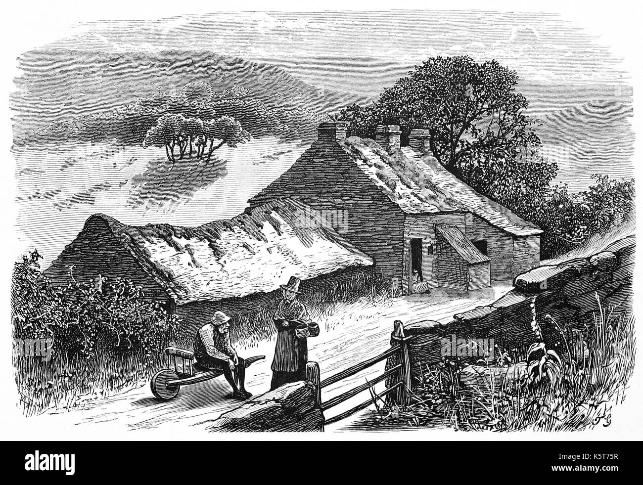 1870: Woman in traditional Welsh dress talking to a neighbour outside a roadside, moorland cottage near Beddgelert Stock Photo