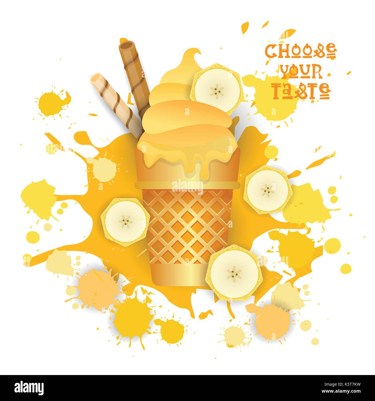 Ice Cream Banana Cone Colorful Dessert Icon Choose Your Taste Cafe Poster Stock Vector