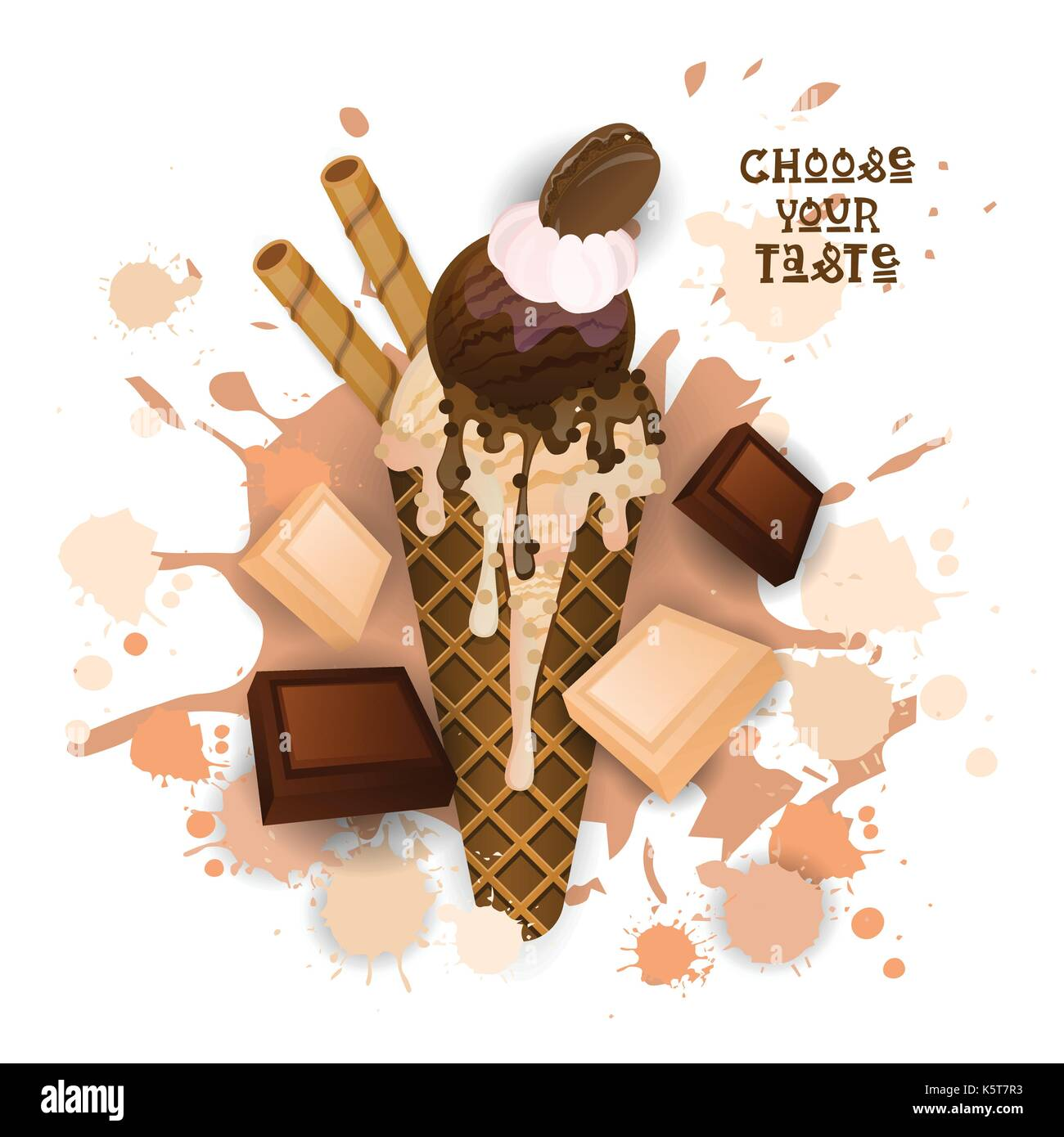 Ice Cream Chocolate Cone Colorful Dessert Icon Choose Your Taste Cafe Poster Stock Vector