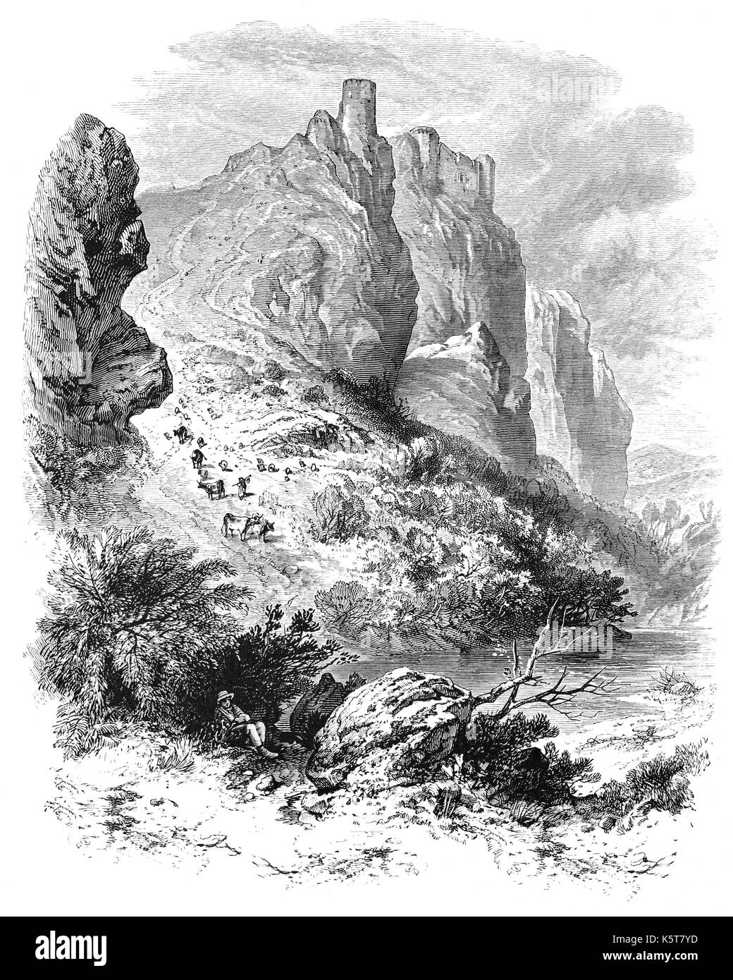 1870: Carreg Cennen Castle positioned above a limestone precipice is near the River Cennen, in the village of Trap, four miles south of Llandeilo.  The first masonry castle was probably built by the Lord Rhys, who died in 1197. In 1277 it was captured by the English, recaptured by the Welsh in 1282 and in English hands again the following year. The following year Edward I granted the castle to Baron Giffard of Brimsfield, who  probably remodelled castle as it now is. Carmarthenshire, South Wales. - Stock Image