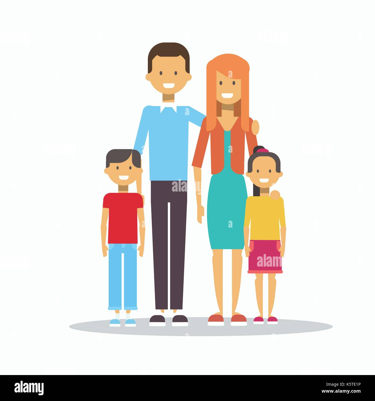 Family Happy Smiling Parents With Two Kids Embracing Isolated - Stock Vector