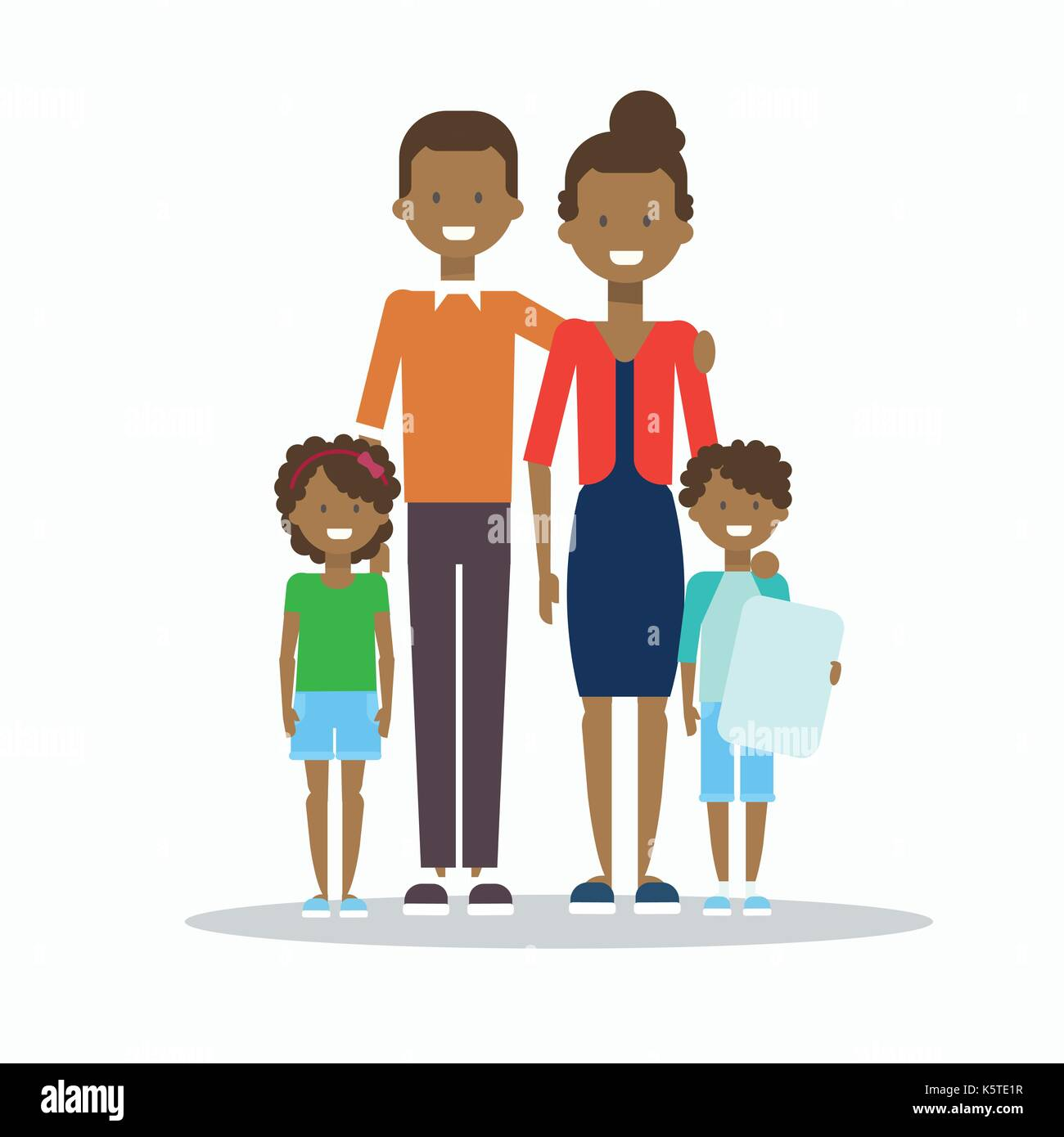 African American Family Happy Smiling Parents With Two Kids Embracing Isolated - Stock Vector