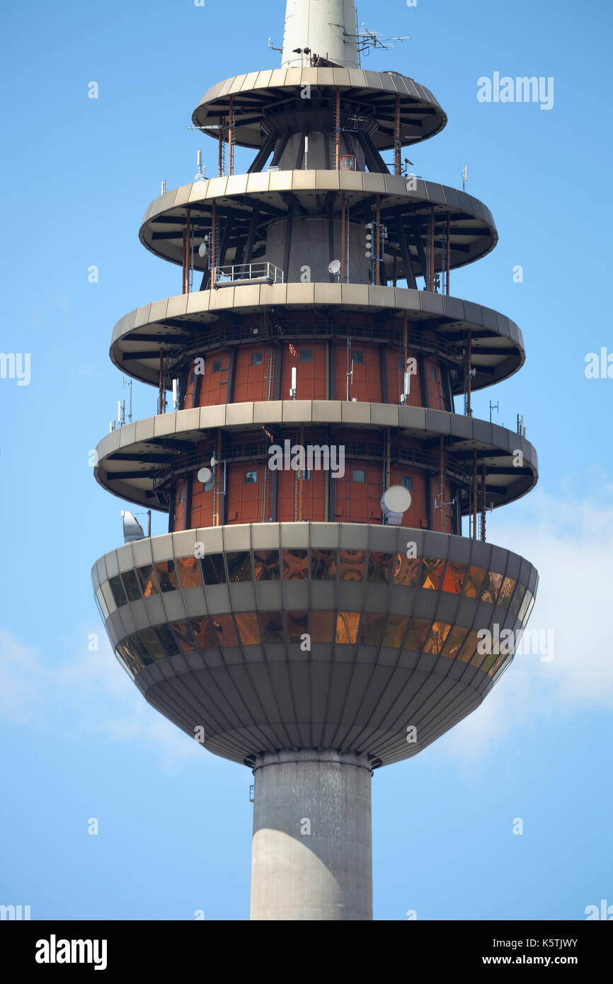 Tower basket with directional radio antennas, telecommunications tower, Nuremberg, Middle Franconia, Franconia, - Stock Image