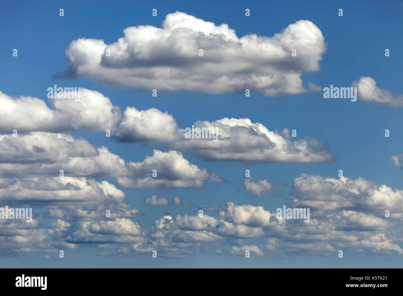 Fair weather clouds, cloud clusters, Cumulus humilis, Germany - Stock Image