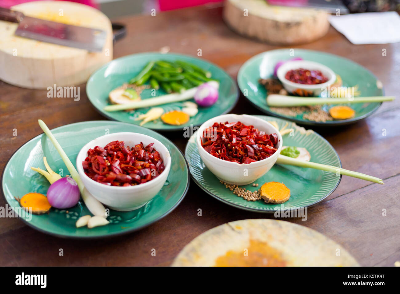 Thai hot curry paste ingredients. Picture of traditional thai cuisine made of fresh ingredients taken during cooking class in Chiang Mai. - Stock Image