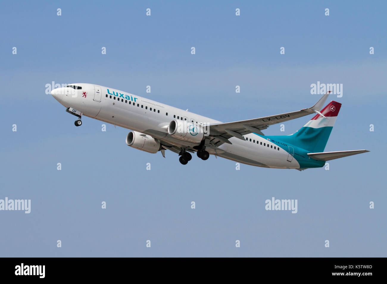Commercial air travel. Luxair Luxembourg Airlines Boeing 737-800 (737 NG or Next Generation) passenger jet plane on takeoff Stock Photo