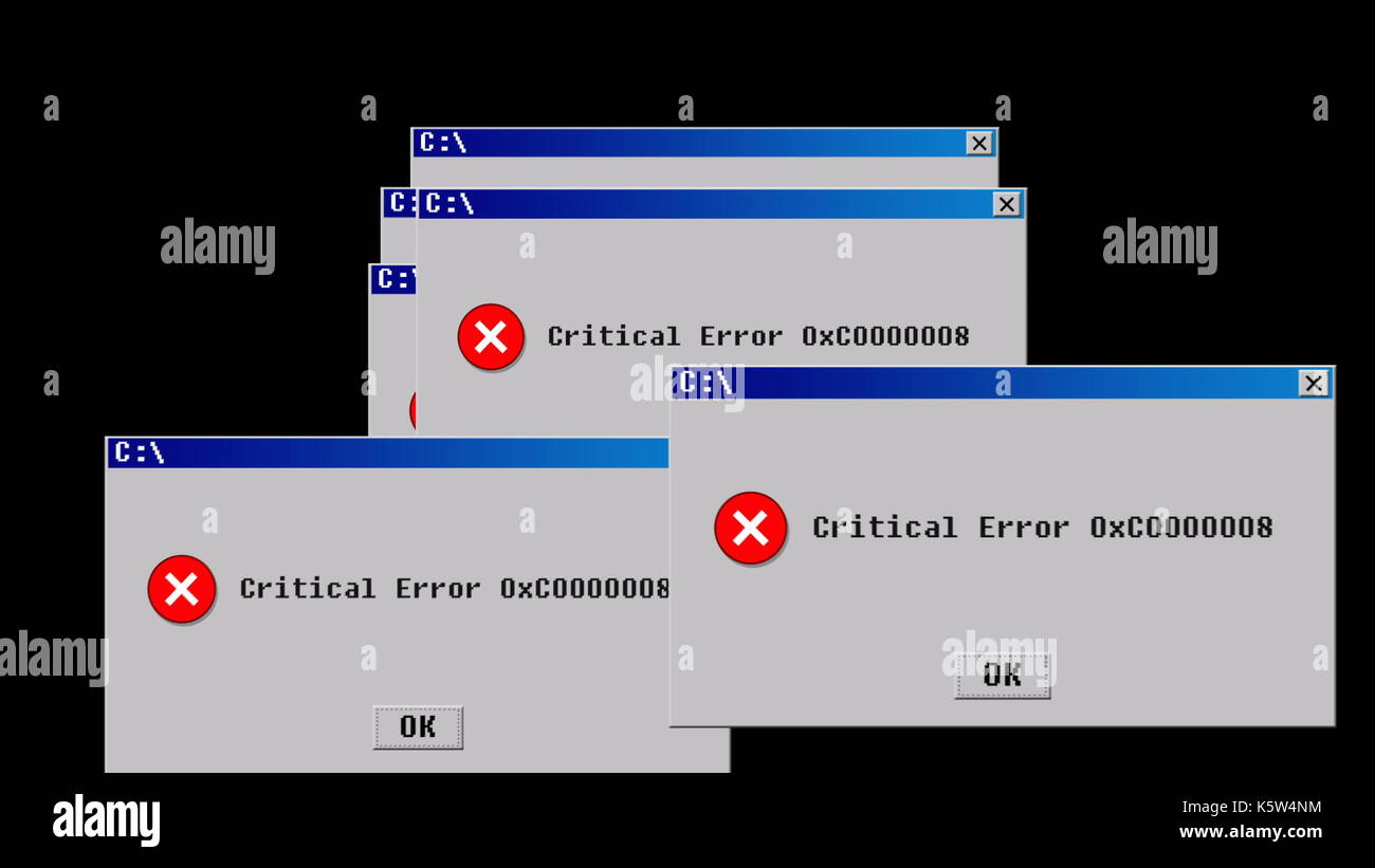 Critical error. Old interface design - Stock Image