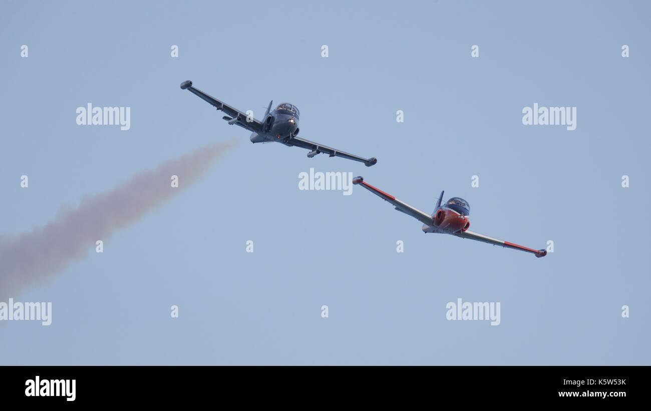 BAC Strikemaster MK82 and BAC Jet Provost T5 flying together at the 2017 Bournemouth Air Festival - Stock Image
