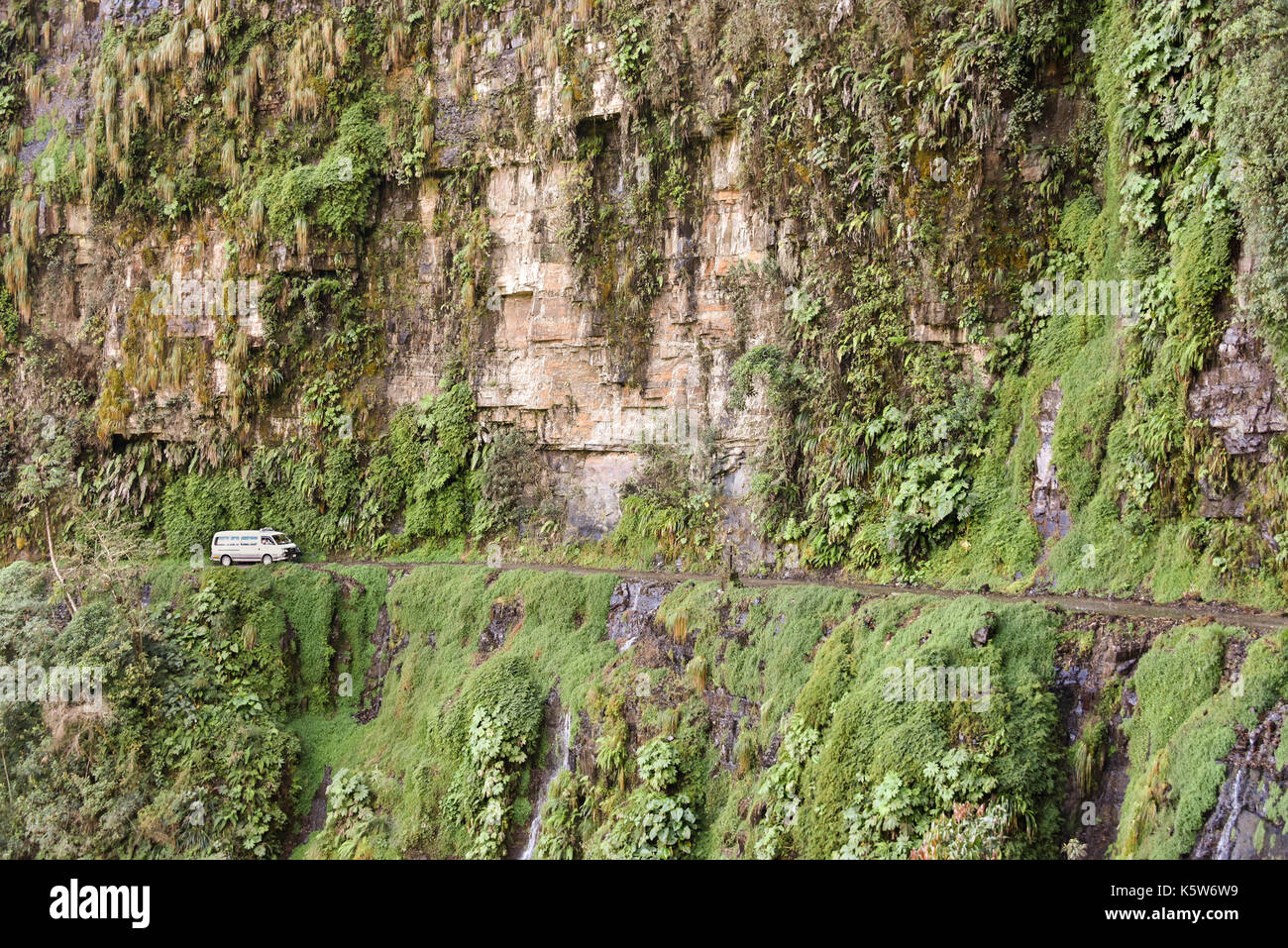 Camino de la muerte, Death Street, considered the most dangerous road in the world, Andes near La Paz, Bolivia - Stock Image
