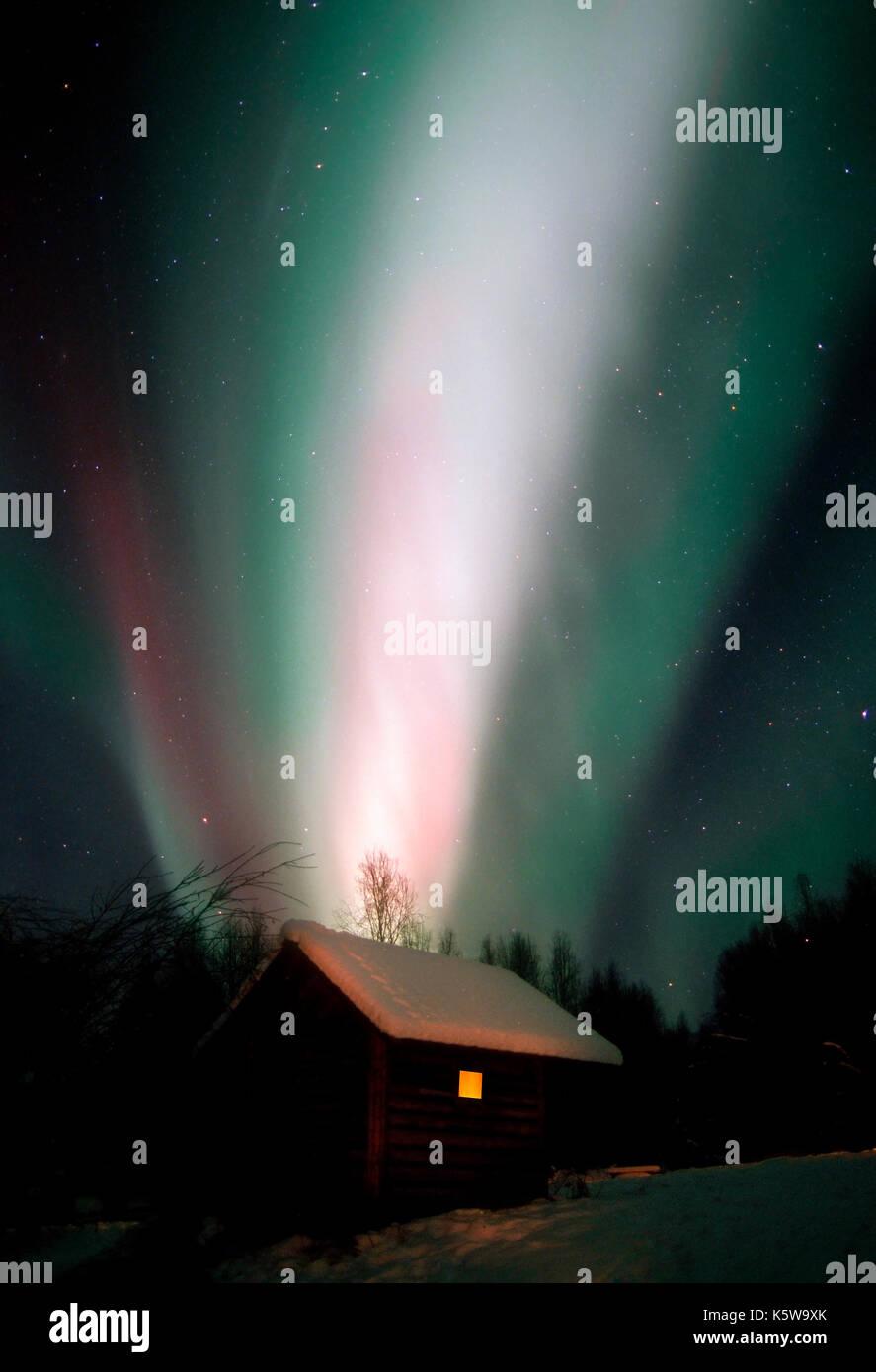 Aurora Borealis; Northern Lights; Celestial; Sky; Natural Phenomena; Alaska; Winter - Stock Image