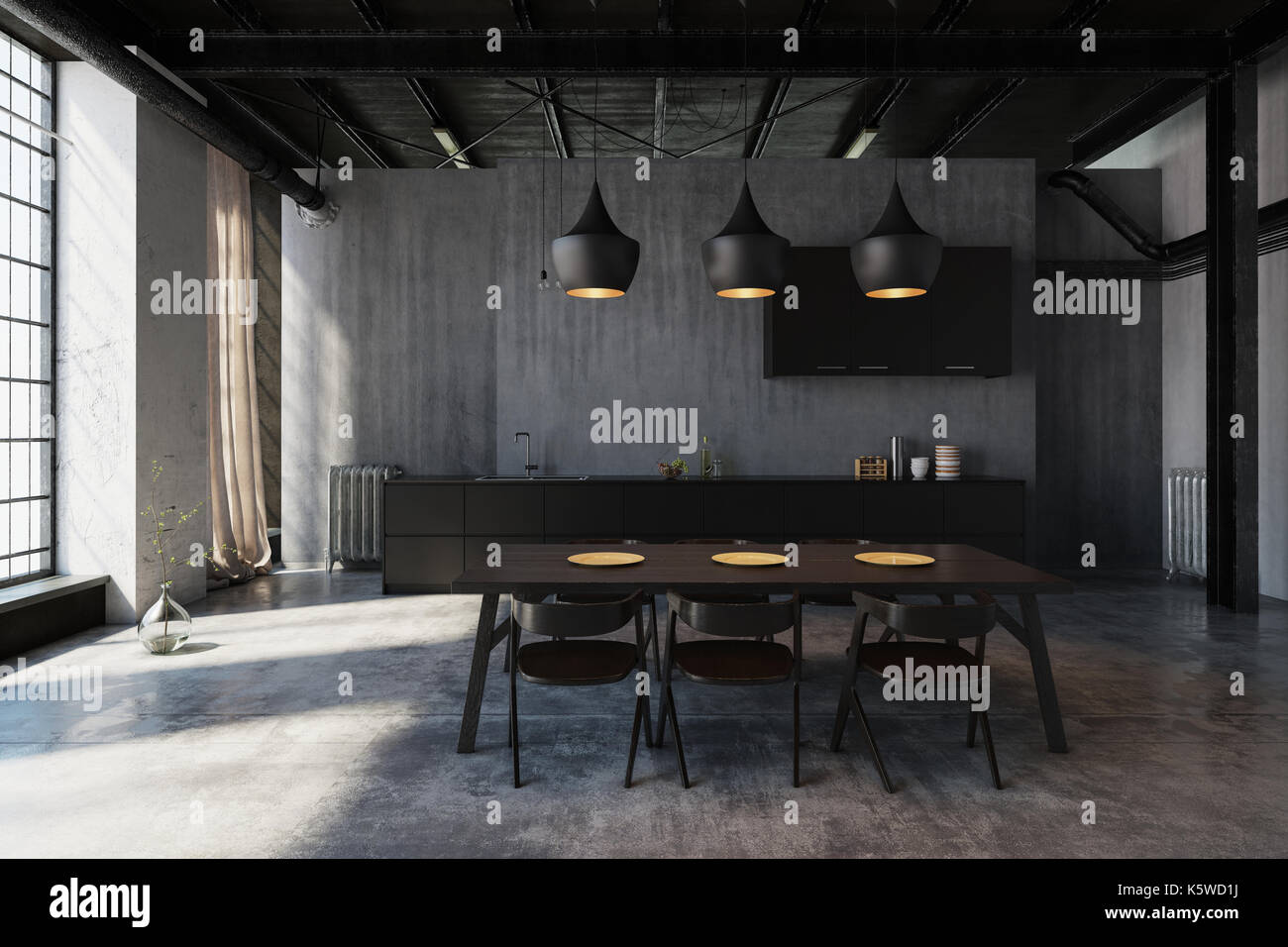 Modern Hipster Dining Area In An Industrial Loft Conversion With Stock Photo Alamy