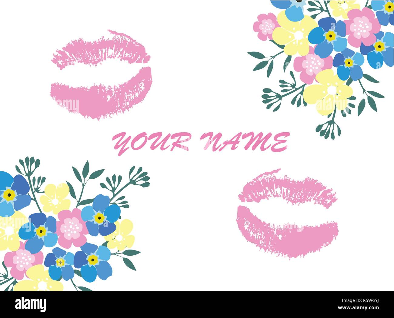 vector illustration of floral business card with lipstick kiss Stock ...