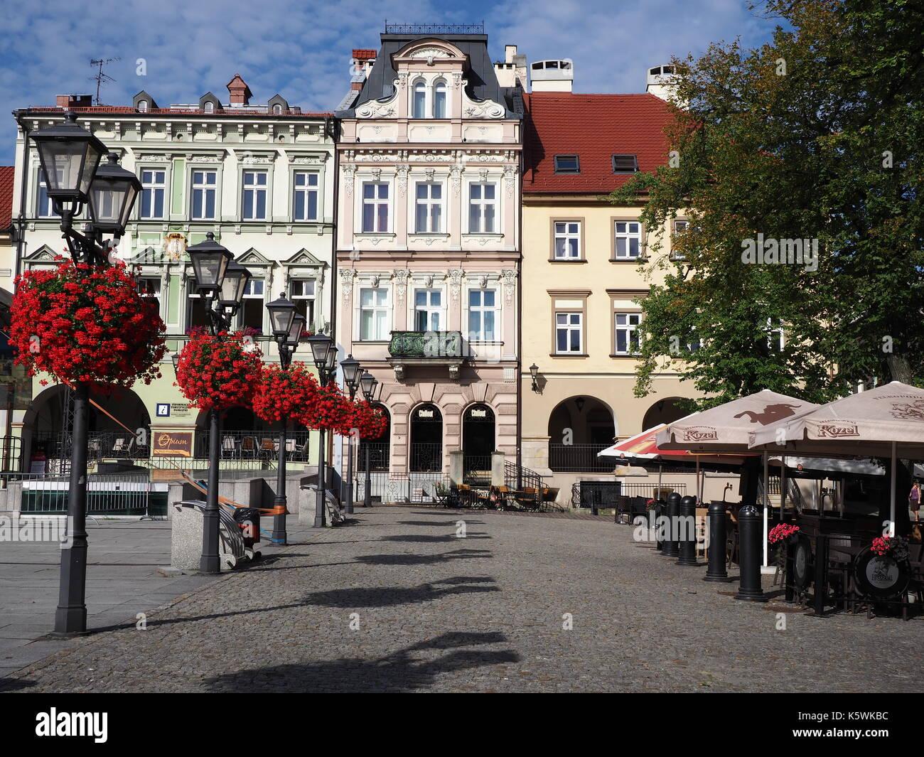 Main square in historical city center of Bielsko-Biala in Poland - Stock Image