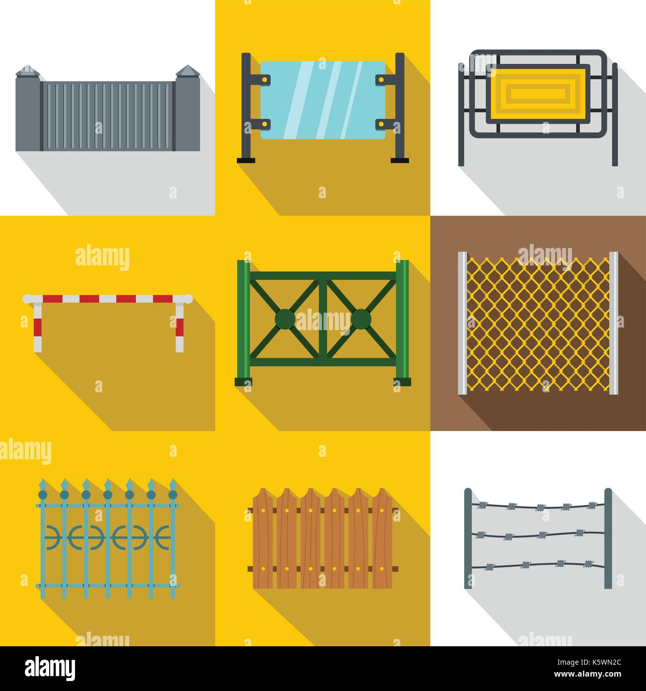 Sections of fence icon set, flat style Stock Vector