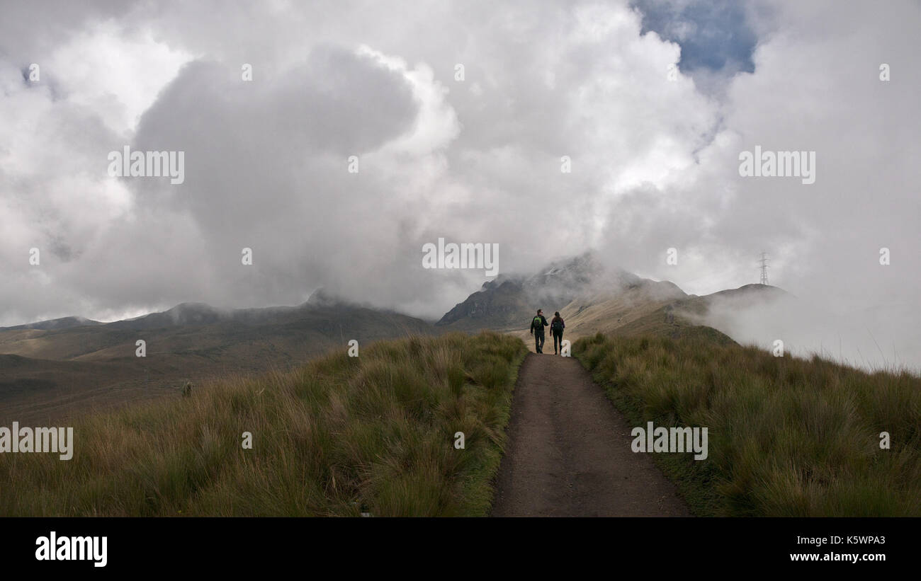 Pichincha, Ecuador - 2017:  Panoramic view at the Pichincha volcano, located just to the side of Quito, which wraps around its eastern slopes. - Stock Image