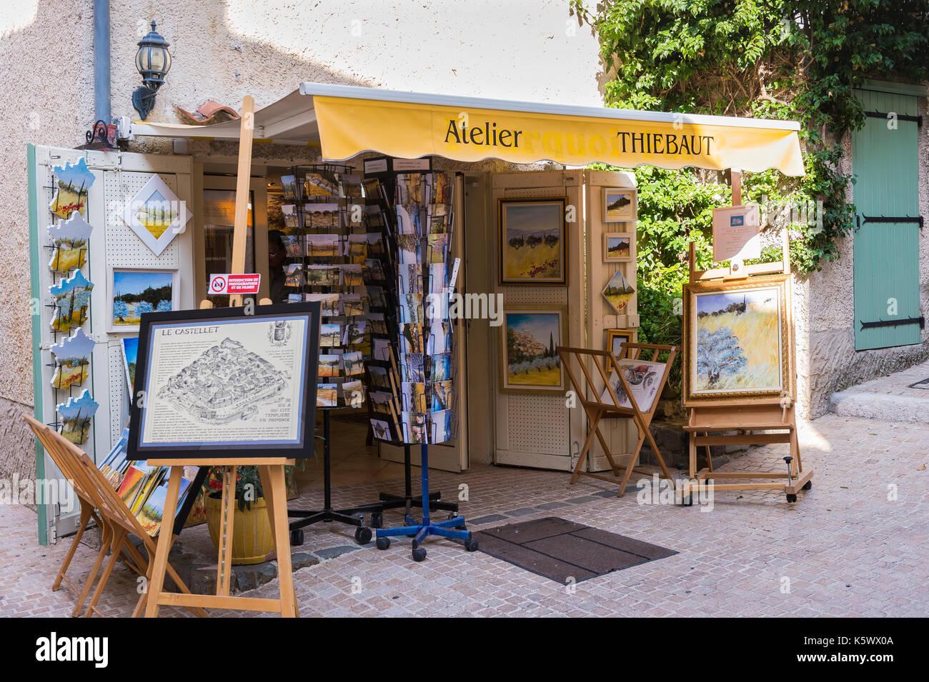 Atelier Artiste Peintre Thiebaut  Village Medieval du Castellet Var France - Stock Image