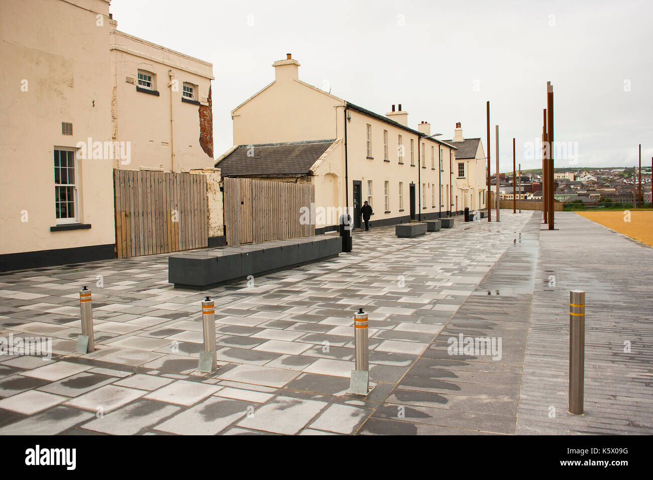 The old Ebrington Army barracks the one time home of the South Wales Borderers British army regiment in Londonderry in Northern Ireland - Stock Image