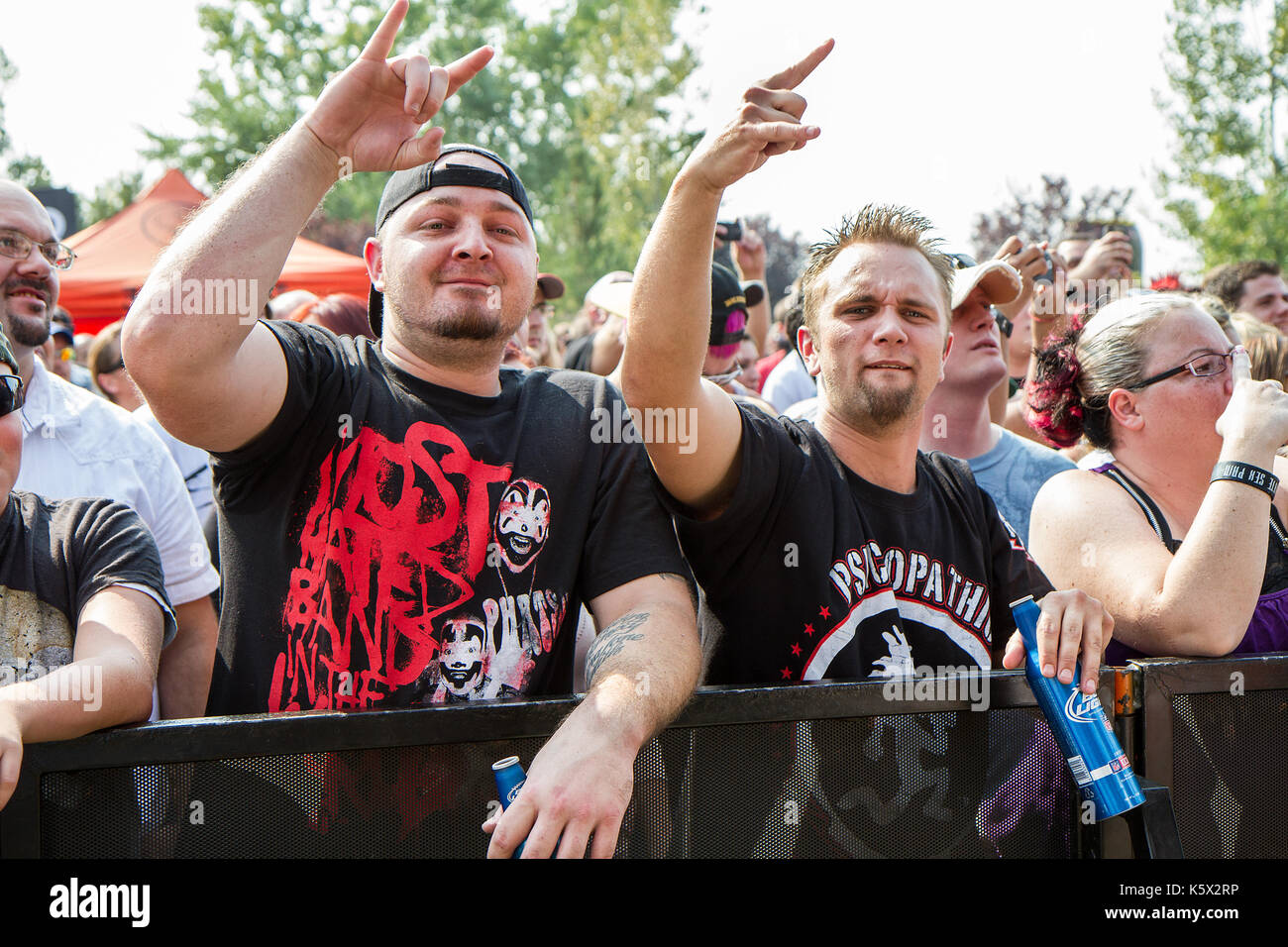 crowd at uproar festival having a good time - Stock Image