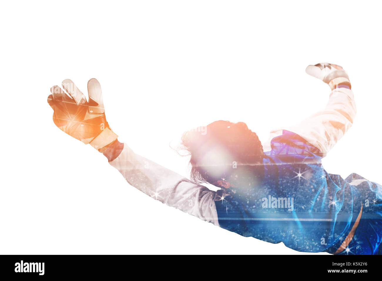 Diving goalkeeper with double exposure - Stock Image
