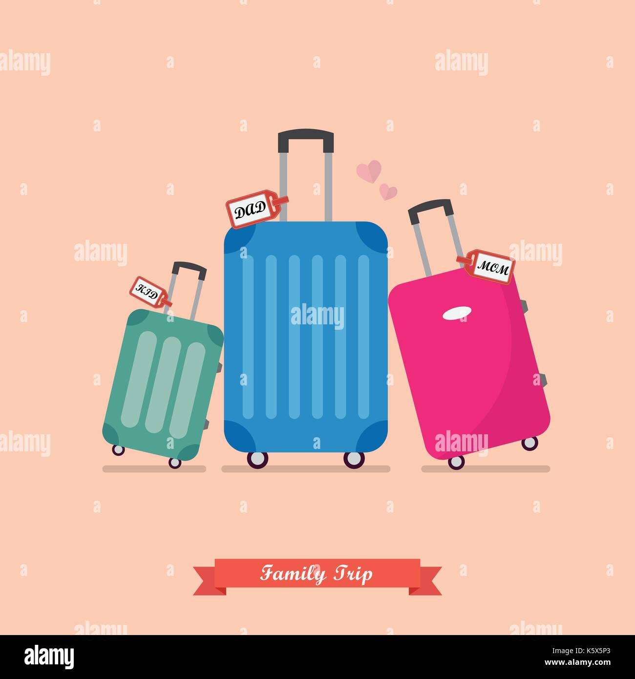 Family trip with Travel luggage set. Vacation and journey concept - Stock Vector