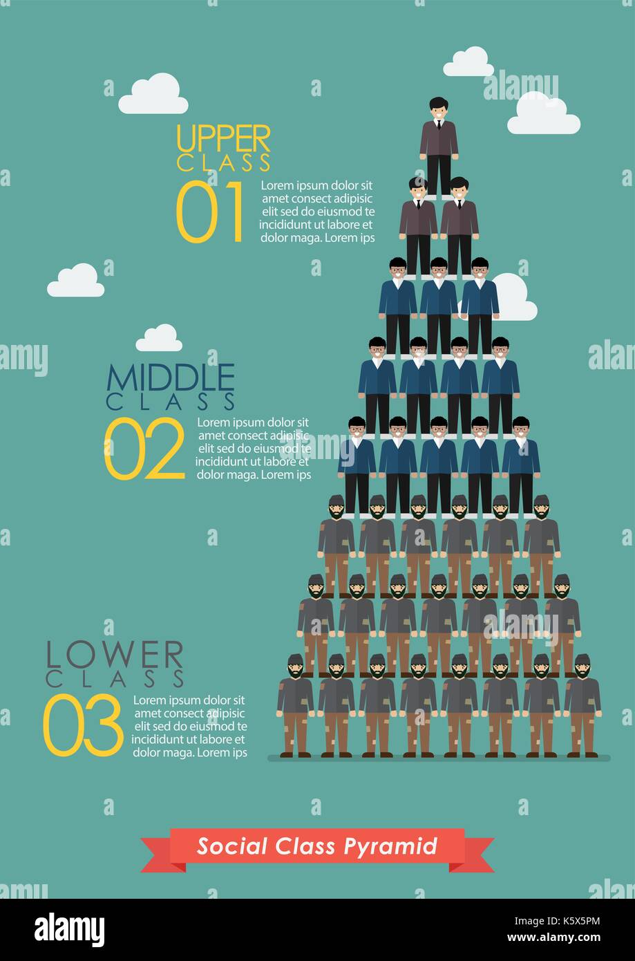 Pyramid of social class infographic. Vector illustration - Stock Image
