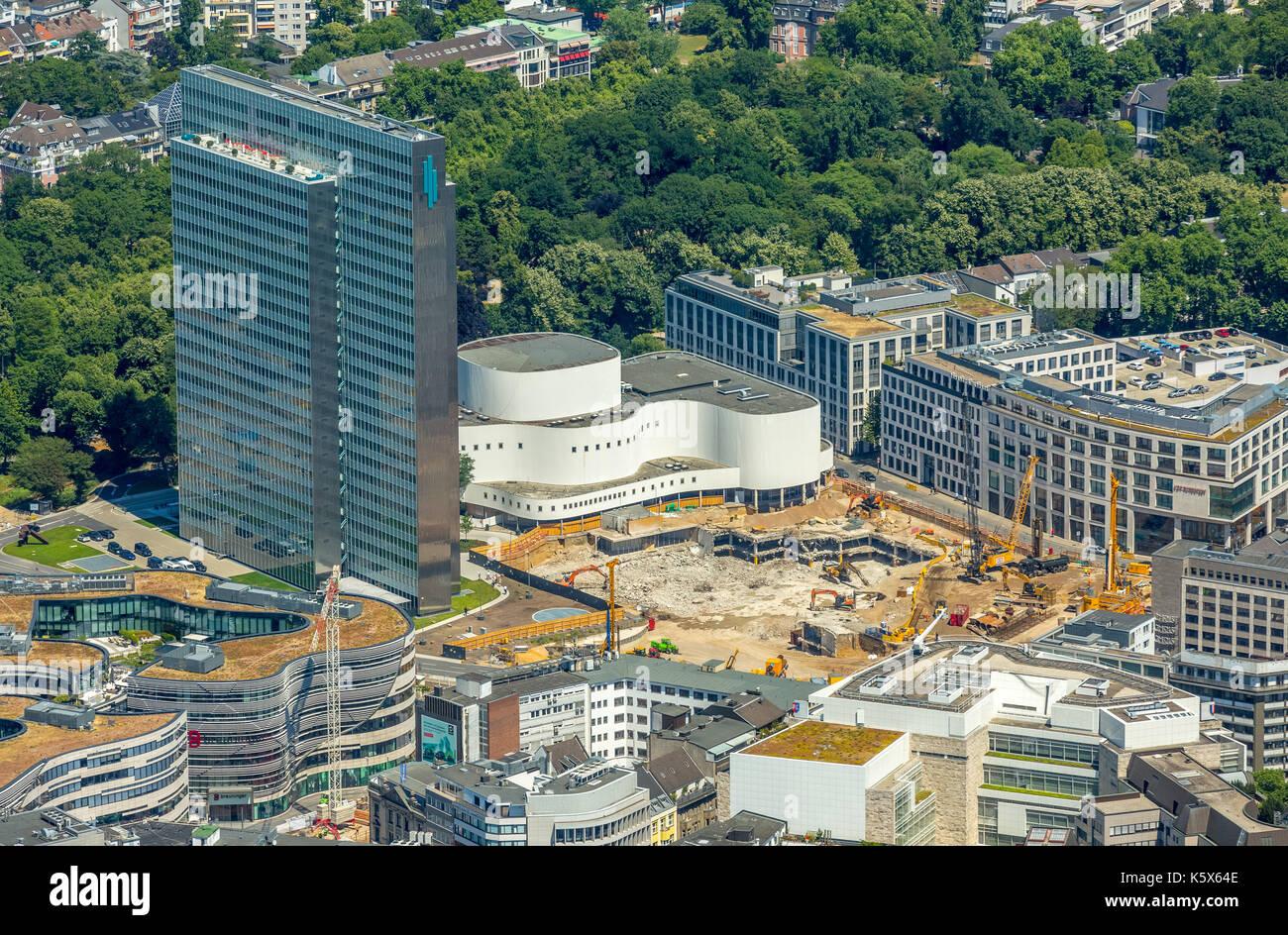 Dreischeibenhaus, Schauspielhaus with construction work, Gustav Gründgens Square, Restaurant Hofgarten, Dusseldorf, Stock Photo
