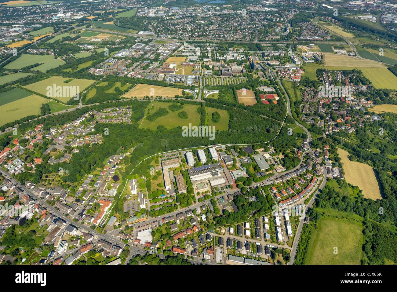 TechnologyParkDortmund on the campus of the University of Dortmund, Dortmund, Ruhr area, North Rhine-Westphalia, Germany Dortmund, Europe, aerial phot - Stock Image