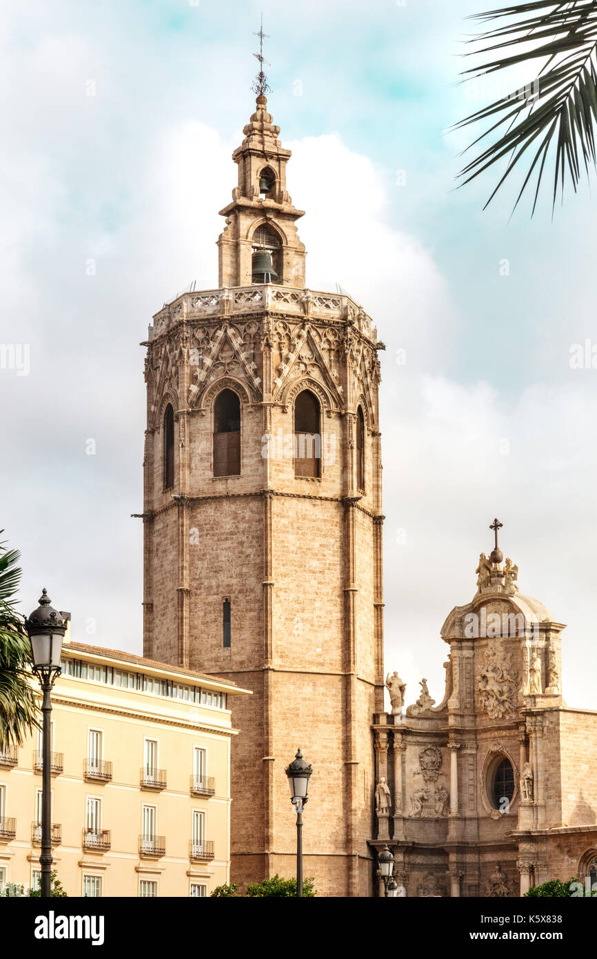 Torre del Micalet, o Miguelete bell tower, in Valencia, Spain Stock Photo