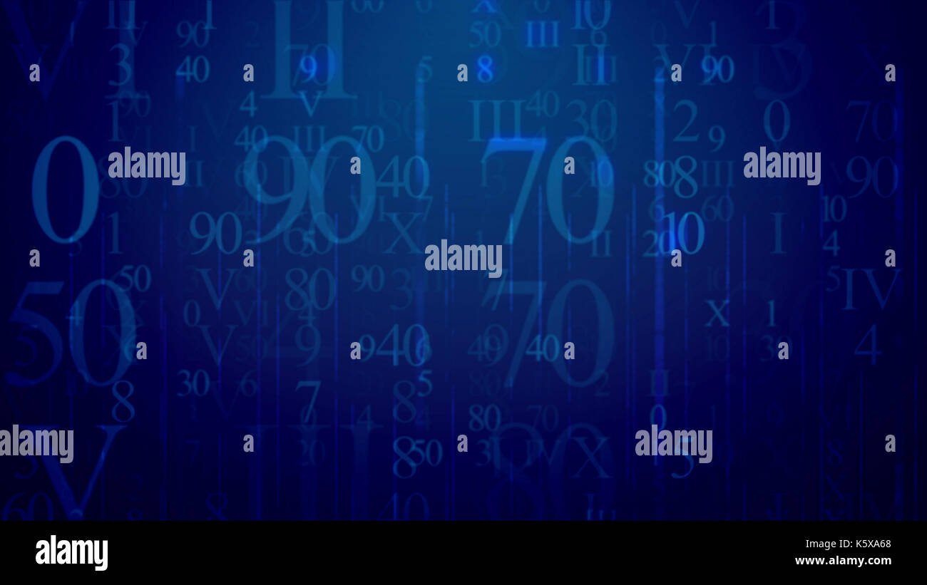 Matrix style 3d illustrationof radiant light blue Latin and Arabic digits having various shapes and lighting in Stock Photo