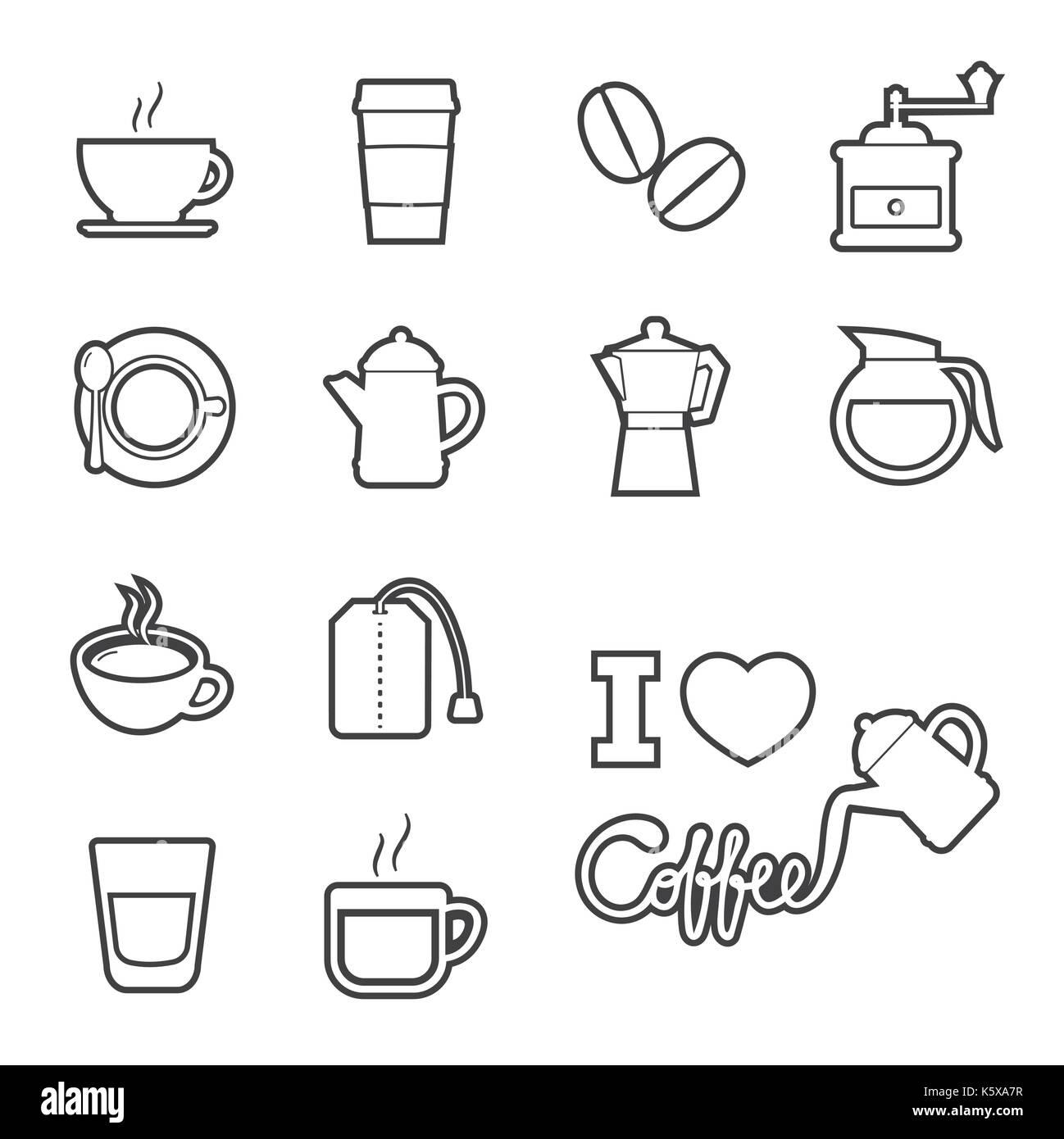 coffee and tea icon - Stock Image