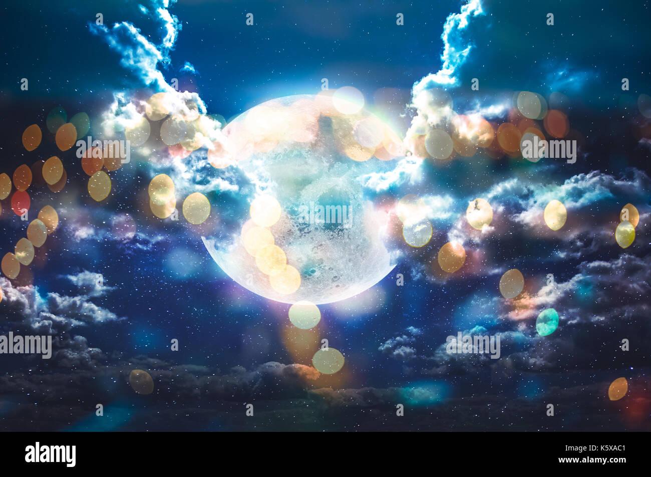 Moon bokeh in galaxy stars sky - Stock Image