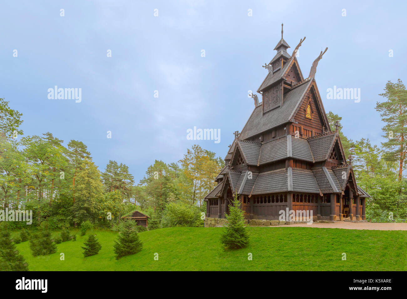 The ancient Stave Church ( Stavkirke ) from Gol in the NORSK FOLKEMUSEUM-  an open air Museum of the Norwegian Cultural History, Oslo, Bygdøy, Norway. - Stock Image