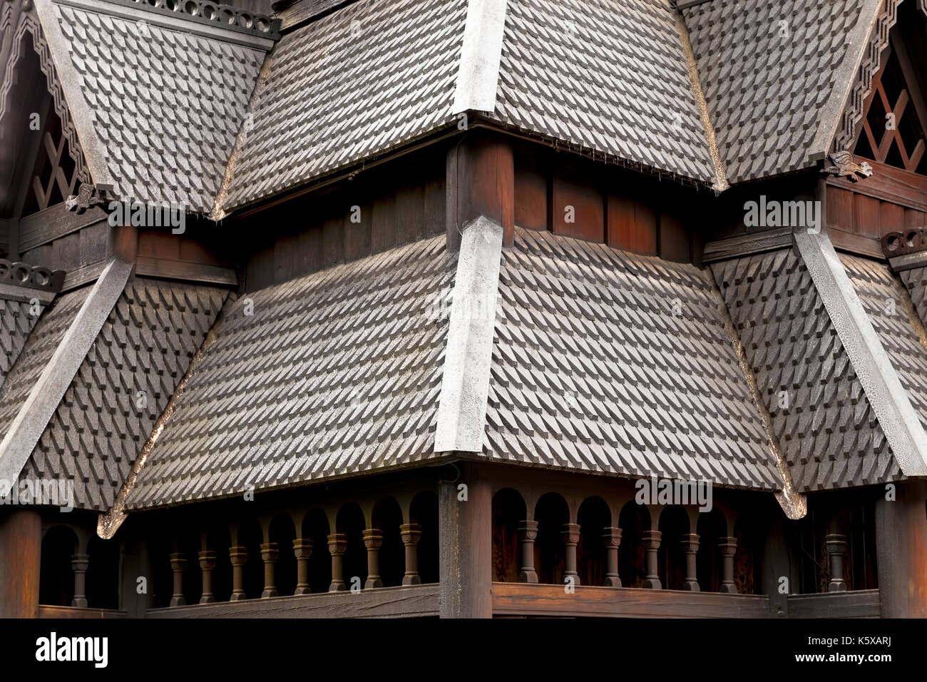 Close-up of the rooftop of the Stave Church (Stavkirke) in the NORSK FOLKEMUSEUM, an open air Museum of cultural history, Oslo, Bygdøy, Norway. - Stock Image