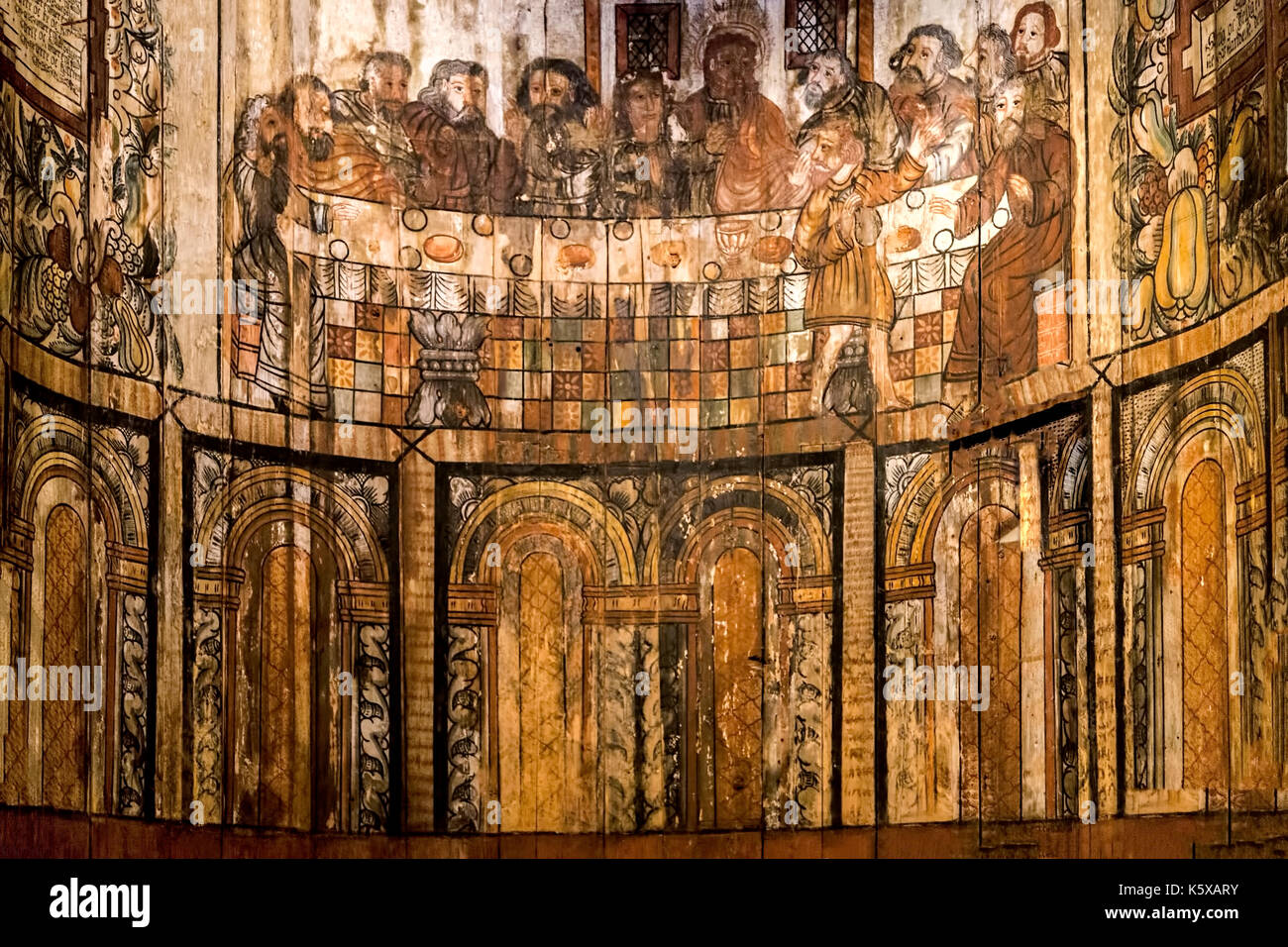 Painting of the Last Supper in the ancient Stave Church in the Norsk Folkemuseum, a Museum of cultural History, Oslo, Bygdøy, Norway. - Stock Image
