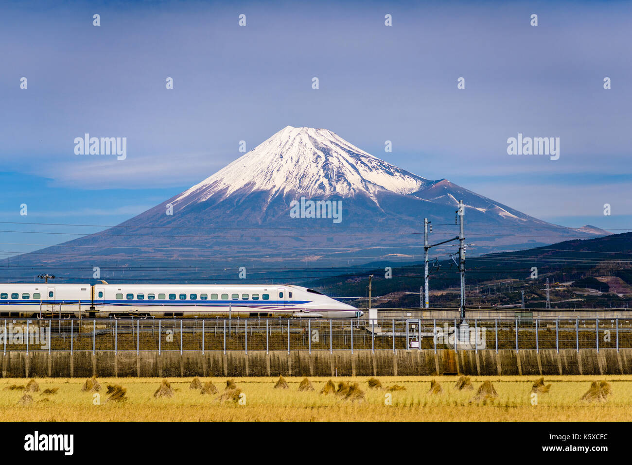Mt. Fuji and train in Japan. Stock Photo