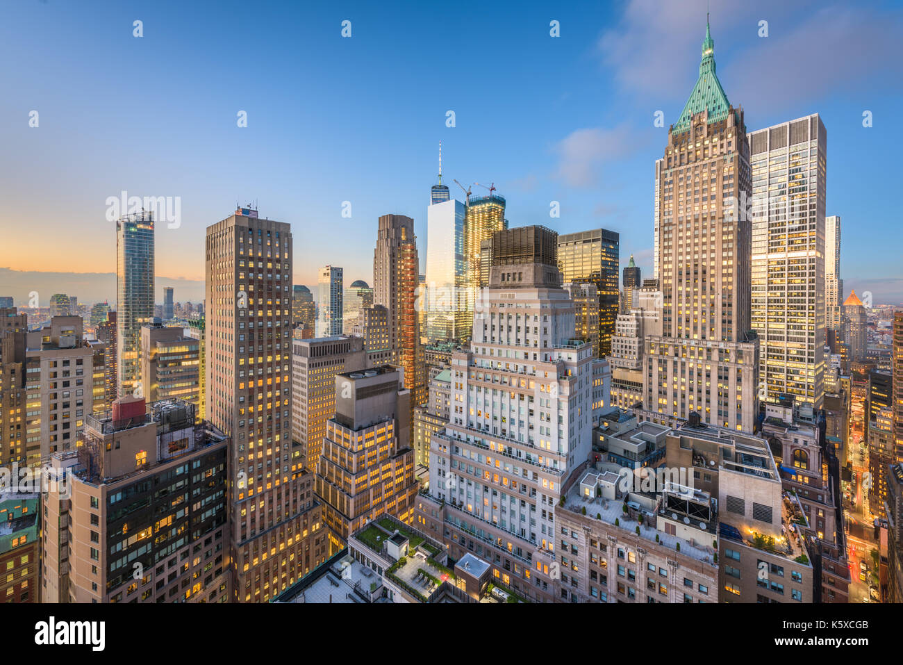 New York City financial district cityscape at twilight. - Stock Image