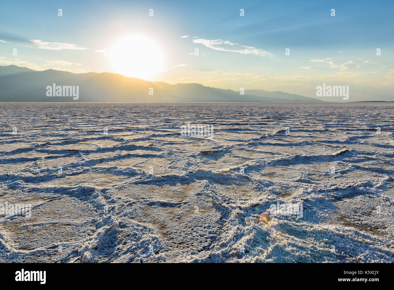 Death Valley National Park, Salt Badwater at sunset, California. - Stock Image