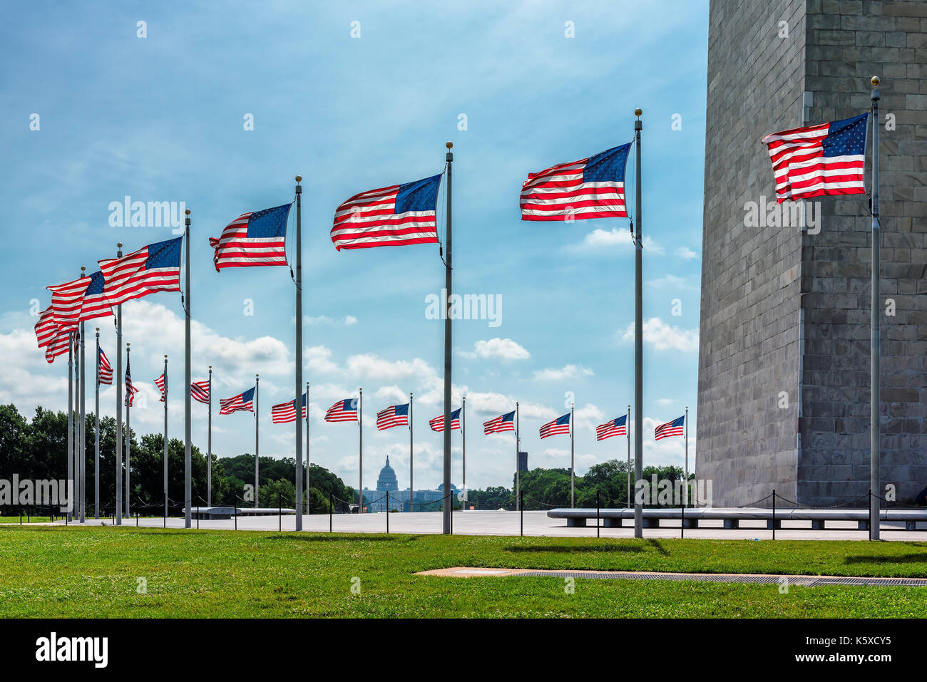 American flags near Washington Monument and Capitol building in background, Washington DC, United States. - Stock Image