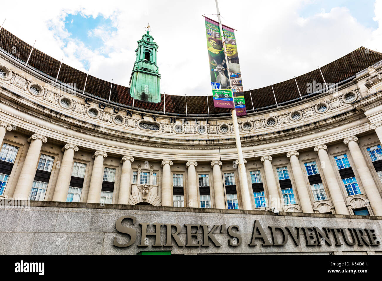 Shrek's Adventure London UK, Shrek's Adventure, Shrek's Adventure building, Shrek's Adventure tourist attraction at County Hall on London's South Bank - Stock Image